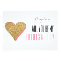 Will You Be My Bridesmaid with gold glittery love heart Invitation