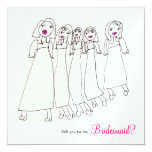 Will you be my bridesmaid? 5.25x5.25 square paper invitation card