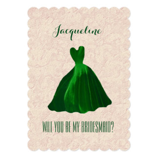 Will You Be My Bridesmaid KELLY GREEN Gown A03A 5x7 Paper Invitation Card