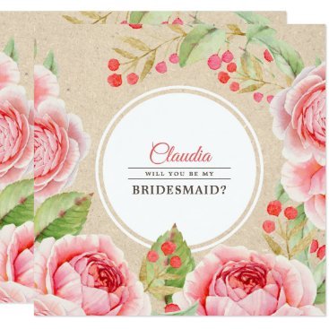 Wedding Themed Will you be my Bridesmaid? Kraft Paper Invitations