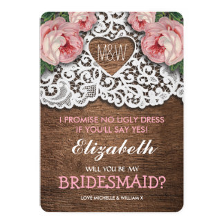 Will you be my Bridesmaid? | Lace Bridesmaid Card