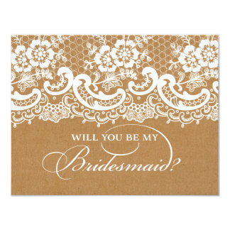 Will You Be My Bridesmaid Lace Brown 4.25x5.5 Paper Invitation Card