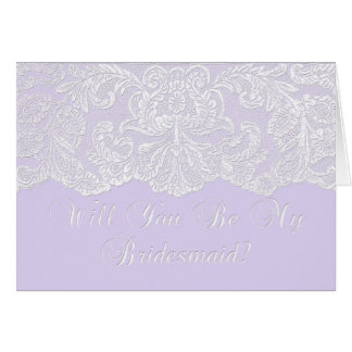 will you be my bridesmaid lilac greeting cards