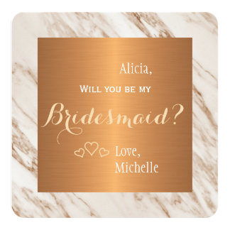 Will you be my bridesmaid marble copper card