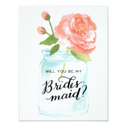 Will You Be My Bridesmaid Mason Jar Card