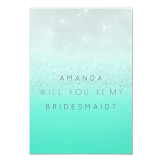 Will You Be My Bridesmaid Mint Silver Glitter Card