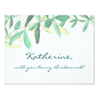 Will you Be my Bridesmaid Modern Botanical Card