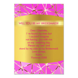 Will You Be My Bridesmaid? Modern Geometric Pink Card