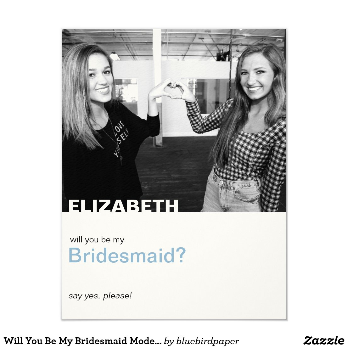 Will You Be My Bridesmaid Modern Photo Card