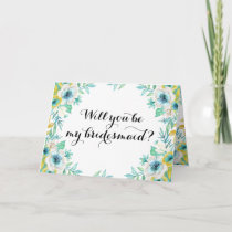 Will You Be My Bridesmaid Modern Vintage Floral Invitation