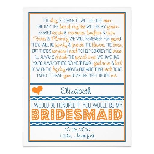 Will you be my Bridesmaid? Navy Blue/Orange Poem Invitation