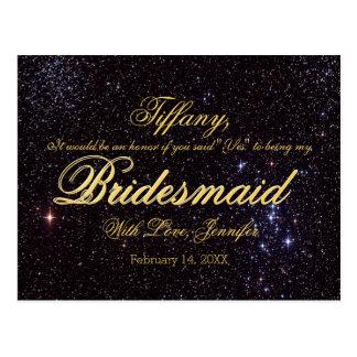 Will You Be My Bridesmaid? Night Sky Postcard