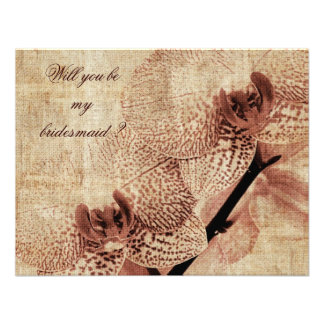 Will you be my bridesmaid orchid themed invite