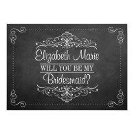 Simple black and white Bridesmaid Ornate Chalkboard invite