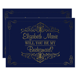Will You Be My Bridesmaid? Ornate Navy & Gold Invitation