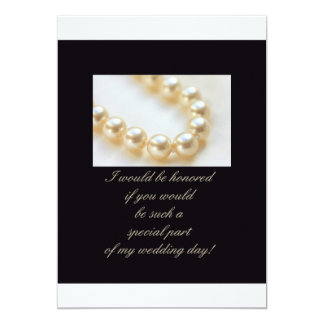 will you be my bridesmaid - pearls on black card