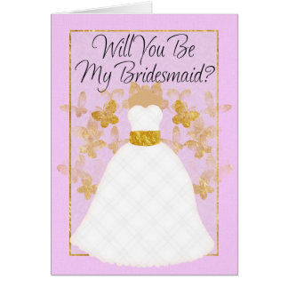 Will you be my Bridesmaid? -  Pink And Gold Greeting Card