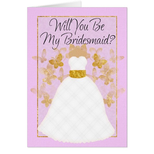 Will you be my Bridesmaid? -  Pink And Gold Card