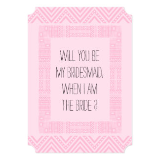 Will you be my Bridesmaid ? Pink Ethnic Boho-chic2 Card