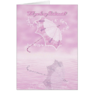 Will you be my bridesmaid pink floral parasol card