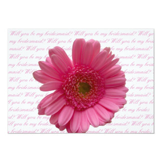 will you be my bridesmaid pink gerbera on letter b card