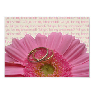 will you be my bridesmaid pink gerbera on letter card