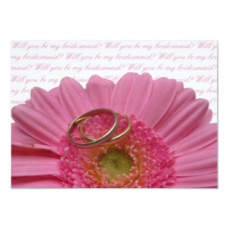 will you be my bridesmaid pink gerbera on white le card