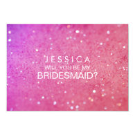 Will You Be My Bridesmaid Pink Glitter Card