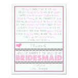 Will you be my Bridesmaid? Pink/Gray Poem Card Custom Announcements