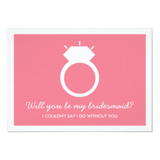 Will You Be My Bridesmaid? Pink Ring Card