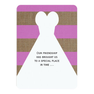 Will You Be My Bridesmaid Poem Orchid Burlap Look 4.5x6.25 Paper Invitation Card