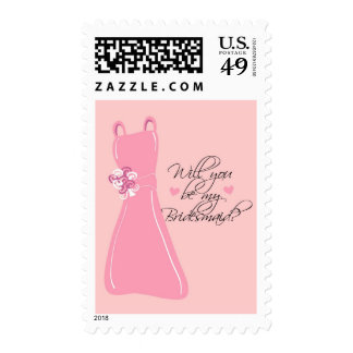 """Will you be my Bridesmaid?"" Postage Stamp"
