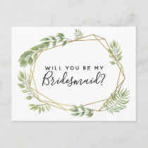 Will you be my bridesmaid postcard greenery leaf