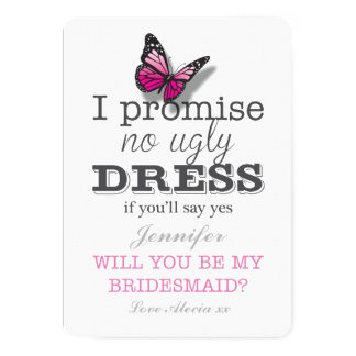 Will You Be My Bridesmaid Pretty Butterfly Card