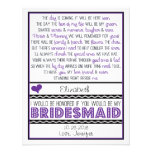 Will you be my Bridesmaid? Purple/Black Poem Card