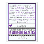 Will you be my Bridesmaid? Purple/Black Poem Card Personalized Announcements