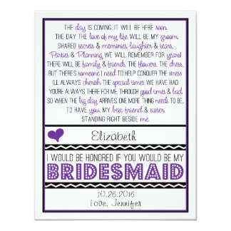 "Will you be my Bridesmaid? Purple/Black Poem Card 4.25"" X 5.5"" Invitation Card"
