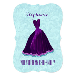 Will You Be My Bridesmaid Purple Gown A15 Card