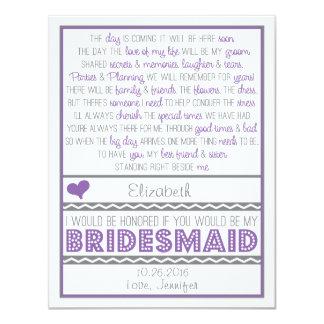 "Will you be my Bridesmaid? Purple/Gray Poem Card 4.25"" X 5.5"" Invitation Card"