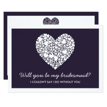 Valentines Themed Will You Be My Bridesmaid? Purple Heart Card