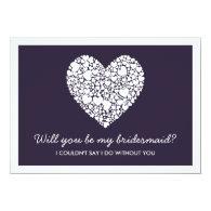 Bridesmaid Purple Heart stylish modern Card