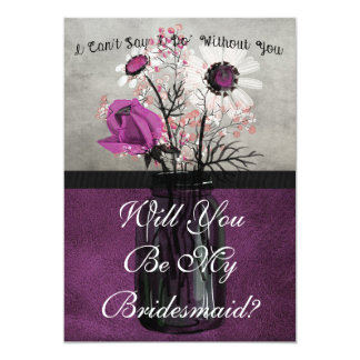 Will You Be My Bridesmaid Purple Personalized Card