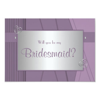 Will you be my bridesmaid Purple Violet & Silver Invitation