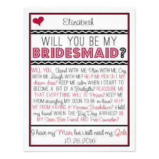 Will you be my Bridesmaid Red Black Collage Card
