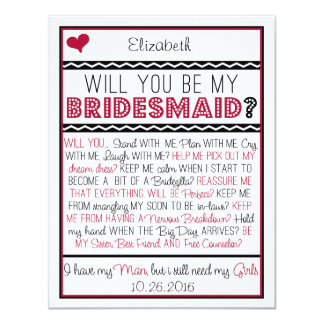 Will you be my Bridesmaid? Red/Black Collage Card Personalized Invitation