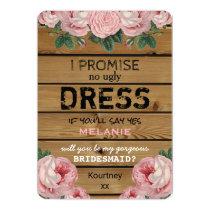 Will you be my Bridesmaid   Rustic Bridesmaid Card