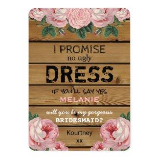 Will you be my Bridesmaid   Rustic Bridesmaid Invitation