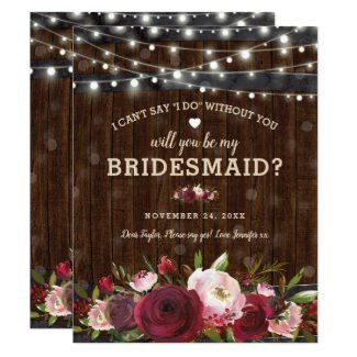 Will you be my Bridesmaid   Rustic Country Barrel Invitation