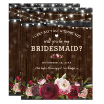 Will you be my Bridesmaid | Rustic Country Barrel Invitation