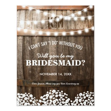special_stationery Will you be my Bridesmaid | Rustic Country Chic Card